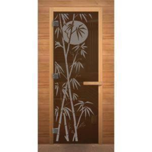 Дверь стеклянная(Бронза прозрачная) «Бамбук» 0.70м*1.90м