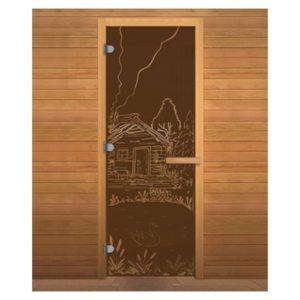 Дверь стеклянная(Бронза матовая) «Банька» 0.70м*1.90м