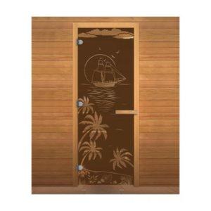 Дверь стеклянная(Бронза матовая) «Лагуна» 0.70м*1.90м
